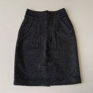 CAbi  navy blue & white tweed fitted skirt